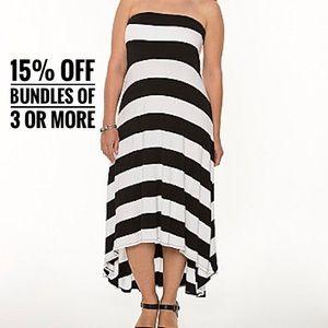 Lane Bryant striped maxi hi-lo dress